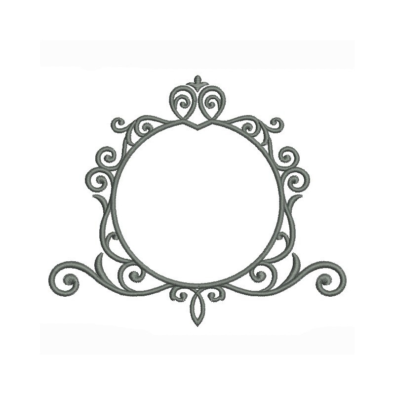 motif de broderie machine cadre vintage rond volutes. Black Bedroom Furniture Sets. Home Design Ideas