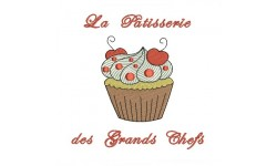 Motif de broderie machine cupcake chantilly cerise.